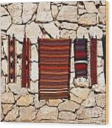 Souvenir Rugs For Sale At Wadi Mujib Jordan Wood Print by Robert Preston