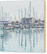 Soveriegn Harbor In Pencil Wood Print