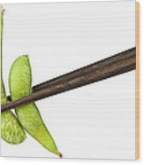 Soy Beans With Chopsticks Wood Print