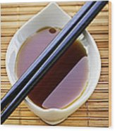 Soy Sauce With Chopsticks Wood Print by Elena Elisseeva