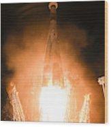 Soyuz Vs06 Lifting Off Wood Print