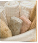 Spa Basket With Soaps Wood Print