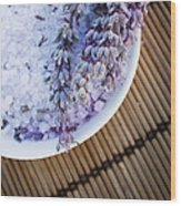 Spa Setting With Lavender Bath Salt Wood Print