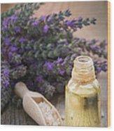 Spa With Lavender Oil And Bath Salt Wood Print