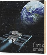 Space Exploration, Earth, Illustration Wood Print