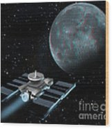 Space Exploration, Moon, Illustration Wood Print