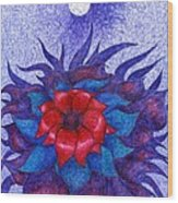 Space Flower Wood Print