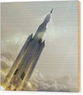 Space Launch System Launch Wood Print