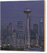 Space Needle At Twilight Wood Print