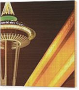 Space Needle Monorail  Wood Print by Donald Torgerson