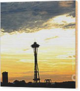 Space Needle Sunset Sillouette Wood Print