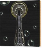 Space Needle With Bubbles 1 Wood Print