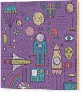 Space Planets Stars Cosmonaut Design Wood Print