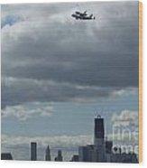Space Shuttle Enterprise Flys Over Nyc Wood Print by Steven Spak