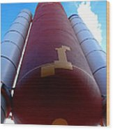 Space Shuttle Fuel Tank And Boosters Wood Print