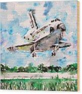 Space Shuttle Landing Wood Print