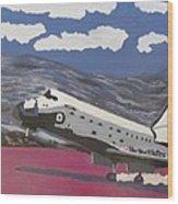 Space Shuttle Landing In The Desert Wood Print