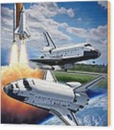 Space Shuttle Montage Wood Print