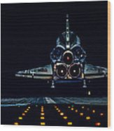 Space Shuttle Night Landing Wood Print