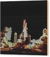 Space Shuttle Night Launch Wood Print