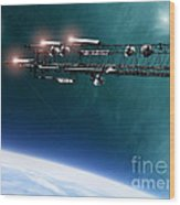 Space Station Communications Antenna Wood Print by Antony McAulay