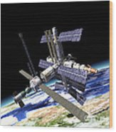 Space Station In Orbit Around Earth Wood Print