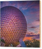 Spaceship Earth Glow Wood Print