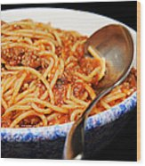 Spaghetti And Meat Sauce With Spoon Wood Print