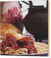 Spaghetti And Meatballs Wood Print by Camille Lopez