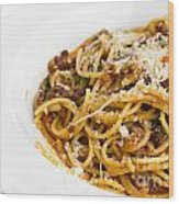 Spaghetti Noodles With Meat Sauce Wood Print by Tosporn Preede