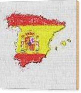 Spain Painted Flag Map Wood Print