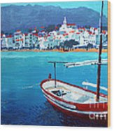 Spain Series 08 Cadaques Red Boat Wood Print