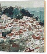 Spanish Hillside Village Wood Print