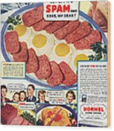 Spam 1960s Usa Hormel Meat Tinned Wood Print