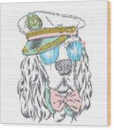 Spaniel In The Captains Cap. Vector Wood Print