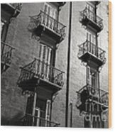 Spanish Balconies - Black And White Wood Print