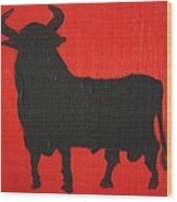 Spanish Black Bull Wood Print