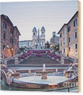 Spanish Steps Famous Stairway Rome Italy Wood Print