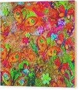 Sparking Butterflies Flowers Wood Print