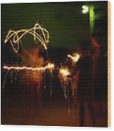 Sparklers Wood Print by Valeria Donaldson