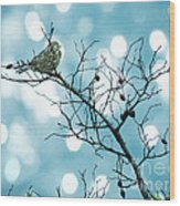 Sparrow In A Branch Wood Print