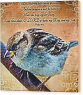 Sparrow With Verse And Painted Effect Wood Print