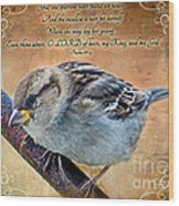 Sparrow With Verse Wood Print