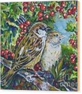 Sparrows On The Hawthorn Wood Print