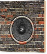 Speaker On A Cracked Brick Wall Wood Print
