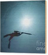 Spearfishing Silhouette Wood Print