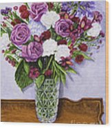 Special Bouquet In Crystal Vase On Heirloom Table Wood Print