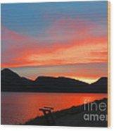 Spectacular Sunset On The Lake. Yellowstone. Wood Print