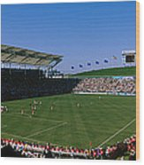 Spectators Watching A Soccer Match, Usa Wood Print