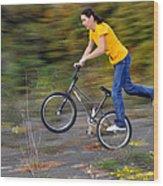 Speed - Monika Hinz Doing A Wheelie On Her Bmx Flatland Bike Wood Print